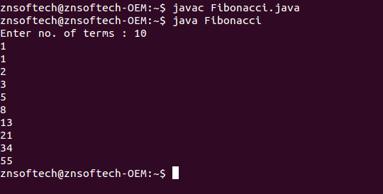 Java code to generate Fibonacci series using recursion