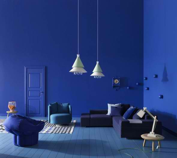all blue living room