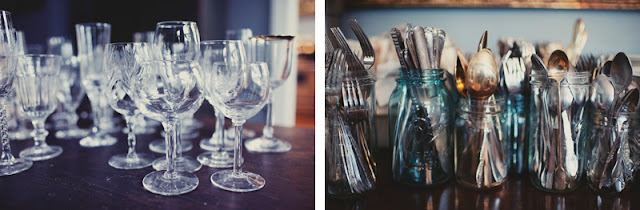 dishware details from a home wedding