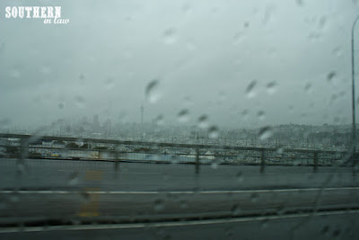 Yachts docked at Auckland Harbour on a Rainy Day