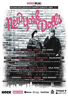 New York Dolls en Barcelona, Madrid, Pamplona y Murcia en abril