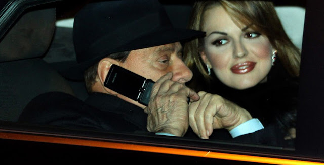 Silvio Berlusconi with girlfriend Francesca Pascale heading to Arcore
