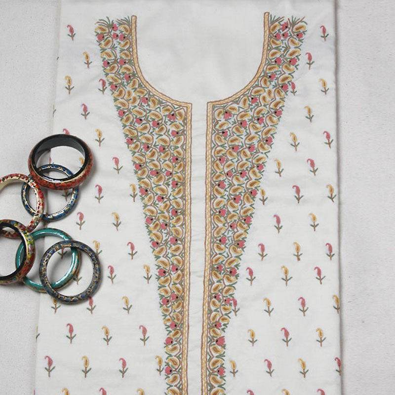 Simply fashionable traditional ari dress material