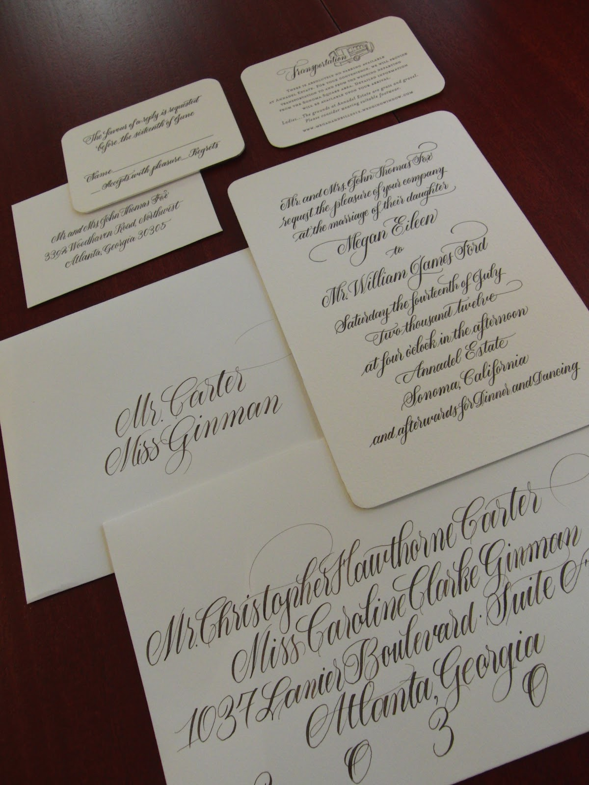 Anne elser letter press wedding invitation suite for Wedding invitation suite what to include