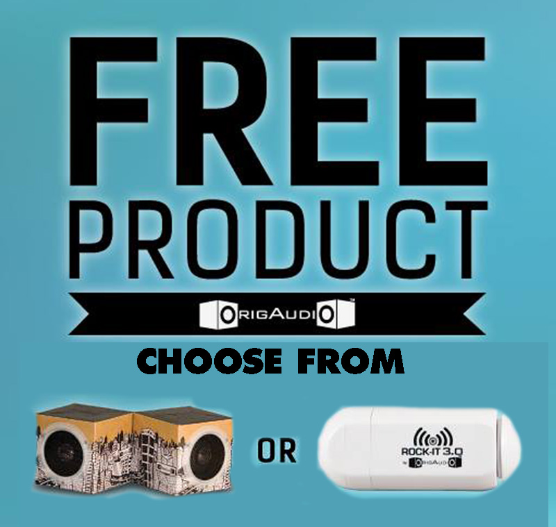 get a free fold and play recycled speakers or rocki it 3 0 from