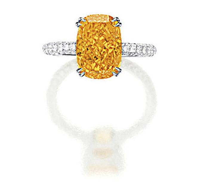 4.19 carats very rare Fancy Orange Diamond studded in a ring