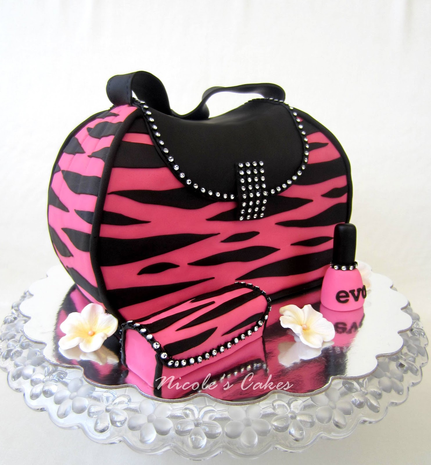 Confections, Cakes & Creations!: Glamour-Girl Pink Zebra Purse Cake!