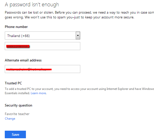 how to change alternate email on hotmail