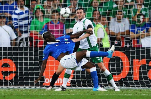 Italy forward Mario Balotelli scores against Republic of Ireland with an acrobatic volley