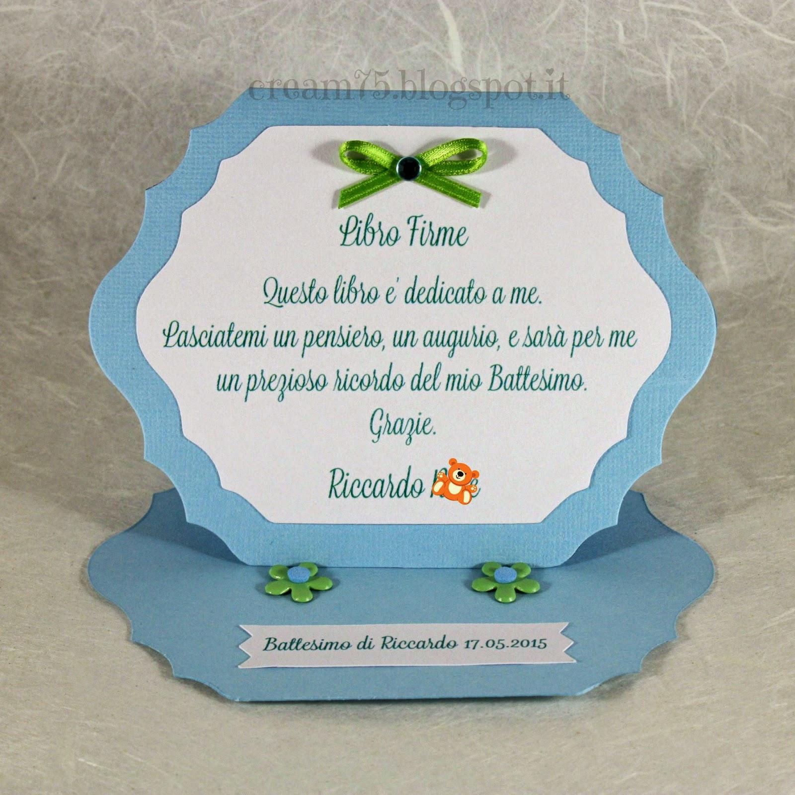 Bien-aimé My Sweet Blog: Biglietto abbinato al guestbook Battesimo NK65