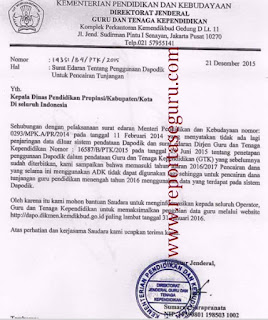 Resmi Kemdikbud, Surat Edaran Penggunaan Dapodik Untuk Pencairan Tunjangan Guru Mulai 2016