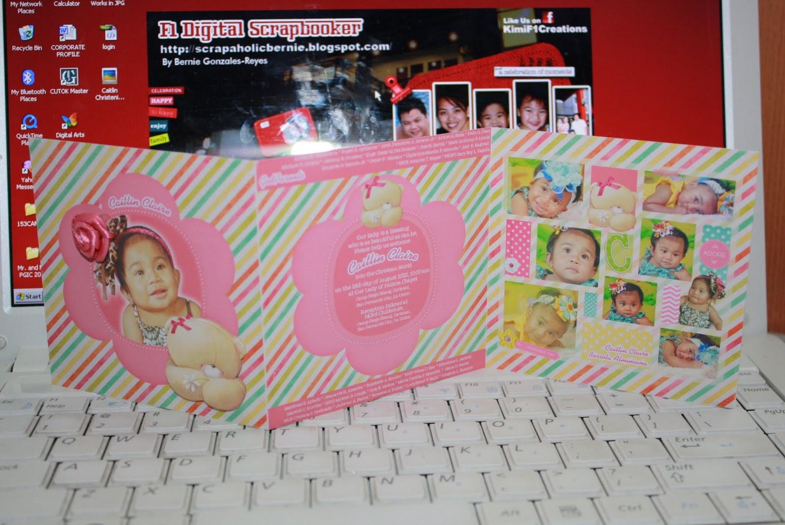 f1 digital scrapaholic colorful bear christening tri fold invites