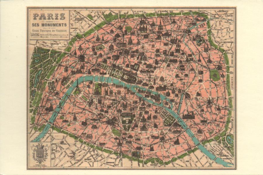 A Postcard A Day Map Of Paris - Modern map of paris