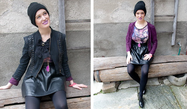 leather skirt, agate necklace, owl body, veiled beanie