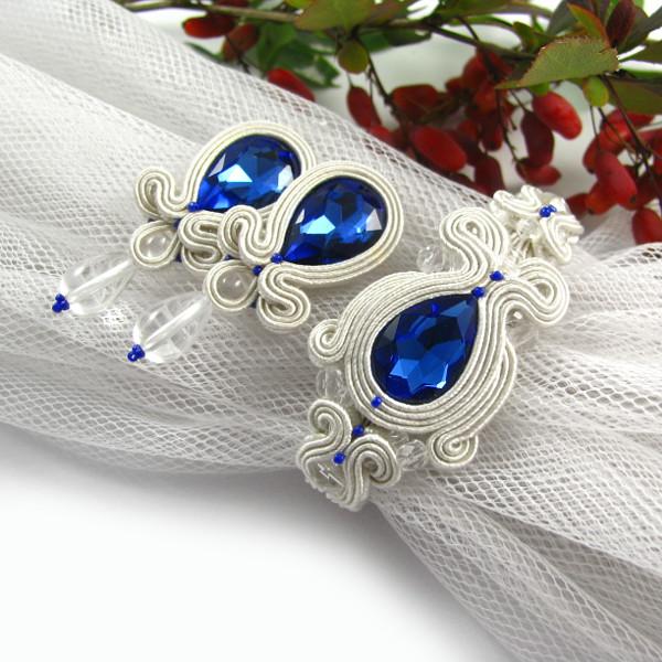 komplet ślubny sutasz ivory z niebieskimi kryształami