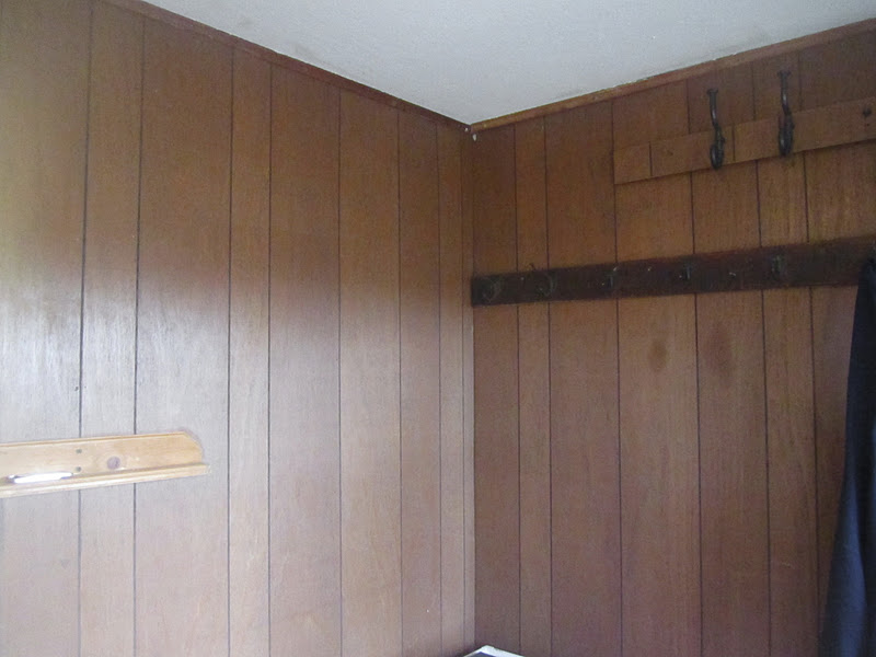 painted the ugly paneling book covers. Black Bedroom Furniture Sets. Home Design Ideas