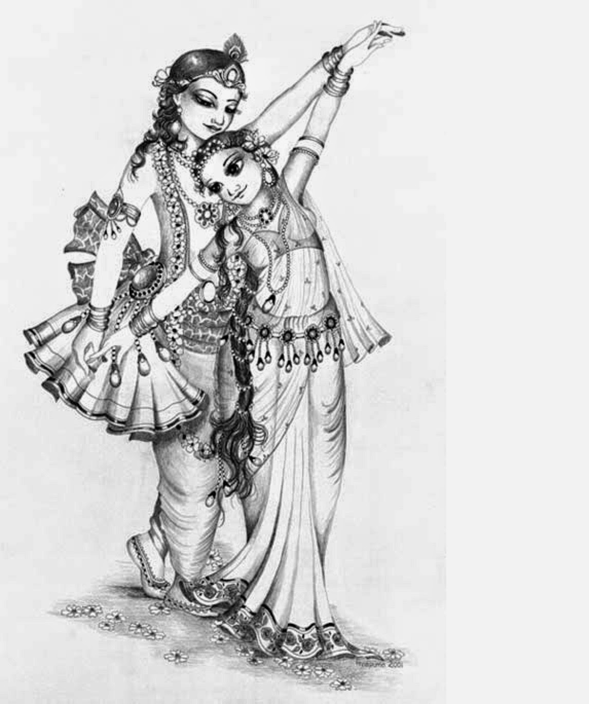 colours drawing wallpaper: Lord Radha Krishna Colour Drawing HD ...