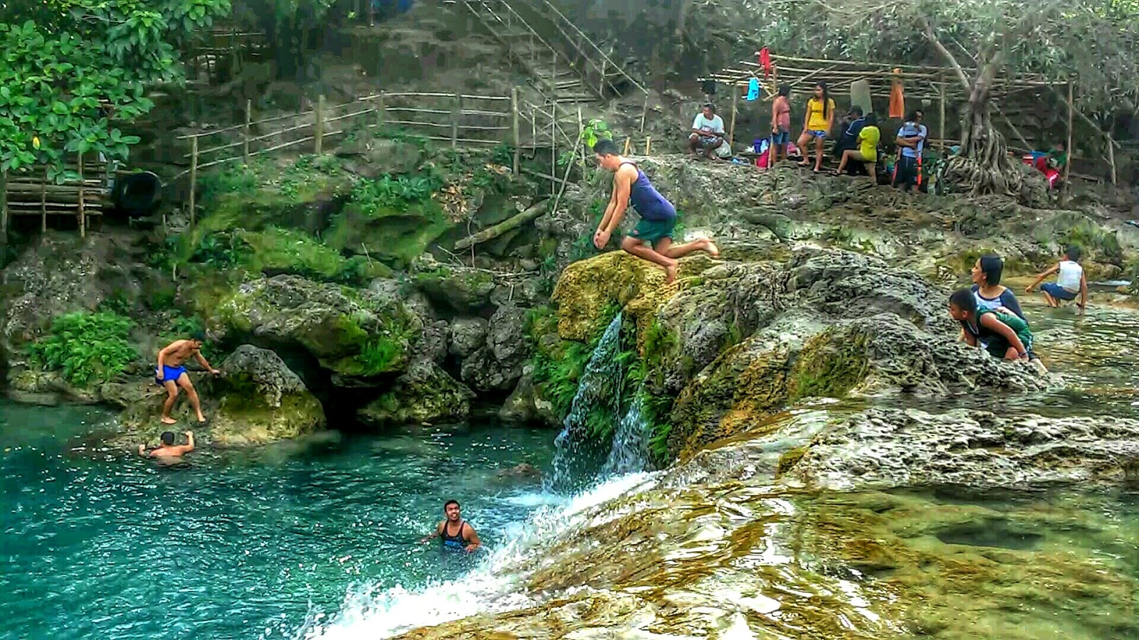 Cliff diving Bolinao Falls
