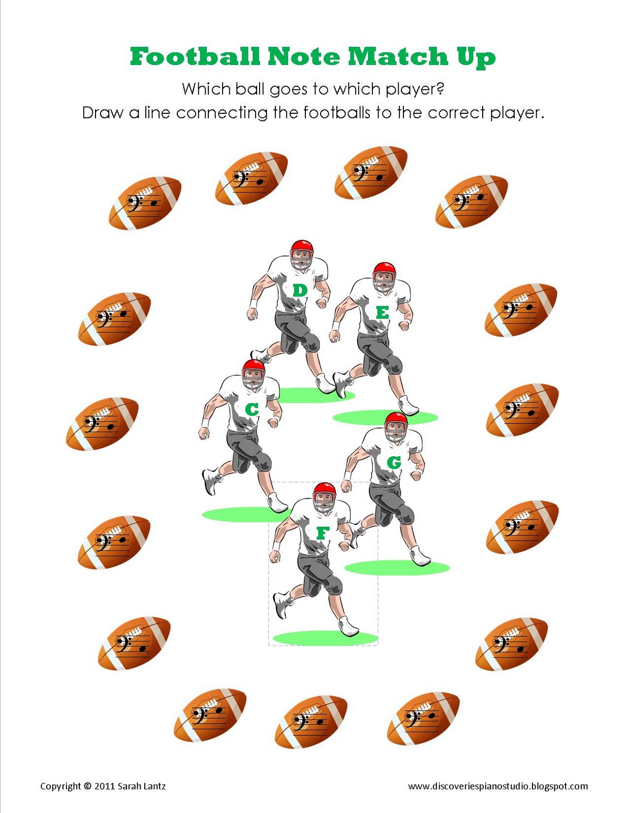 Discoveries Piano Studio Football Note MatchUp More CPosition – Football Maths Worksheets