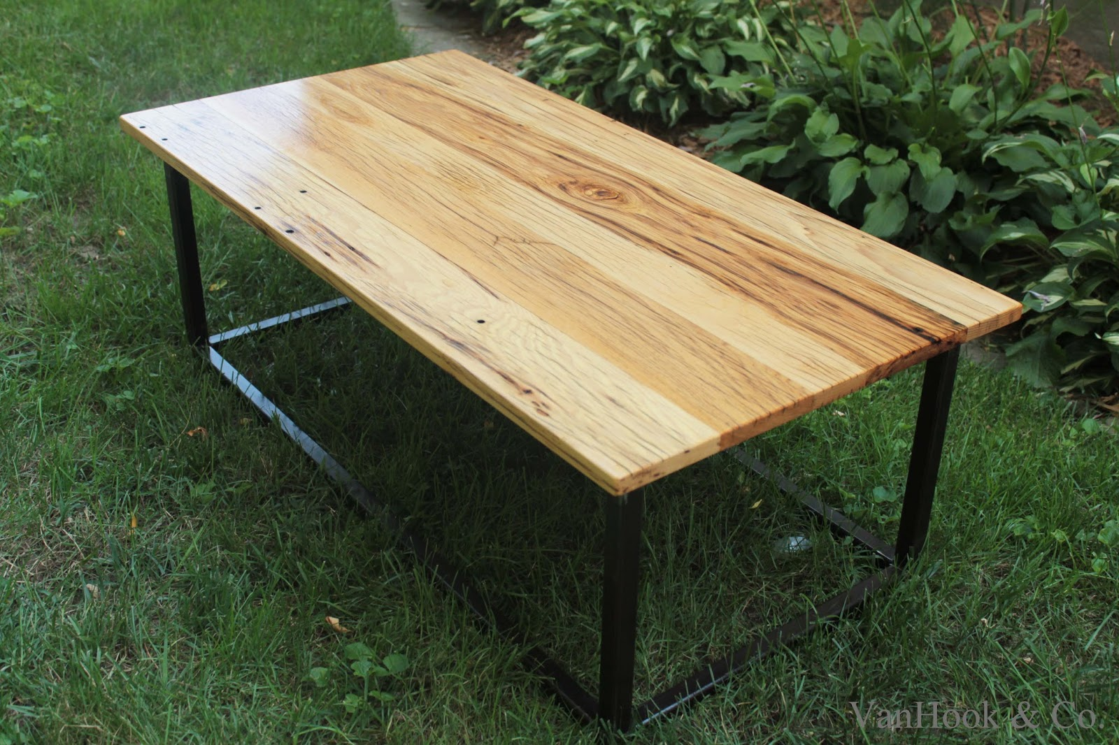 Vanhook co hand built white oak and steel frame coffee table monday july 29 2013 geotapseo Choice Image