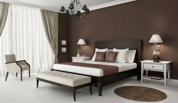 Dormitorio color marr n chocolate dormitorios colores y for Habitaciones con muebles blancos
