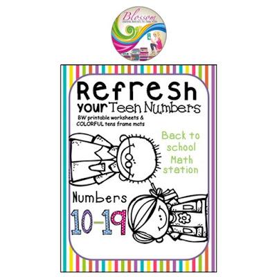 https://www.teacherspayteachers.com/Product/Back-to-school-teen-numbers-worksheet-math-station-1887230