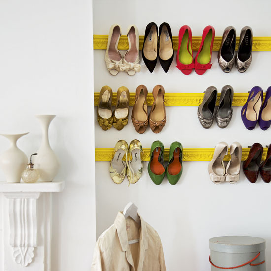 A girl can never have too many shoes.....or enough places to put them. I have a visual merchandising and merchandising background so I always think about ... & Moldings on the Wall For Shoe Storage? Yes Please. - Oh You Crafty Gal