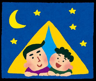 夏休みのイラスト「家族でキャンプ」