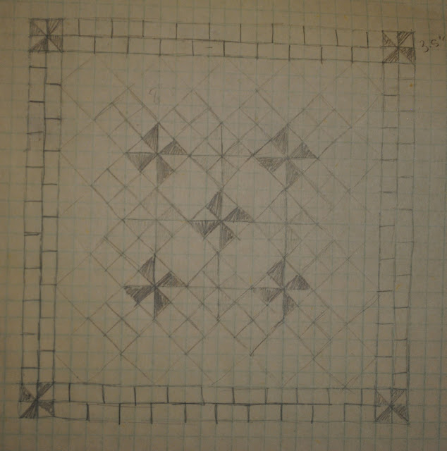 low volume pinwheel quilt sketch
