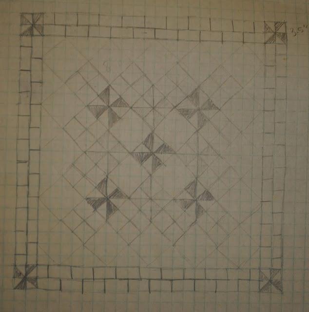 low volume pinwheel quilt sketch