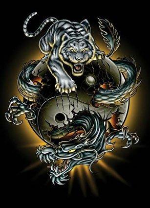 Yin and Yang Dragon Tiger Tattoo