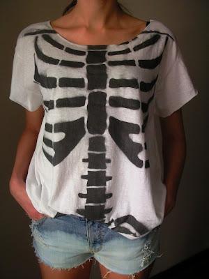 szkielet diy kości koszulka horror moda trendy goth
