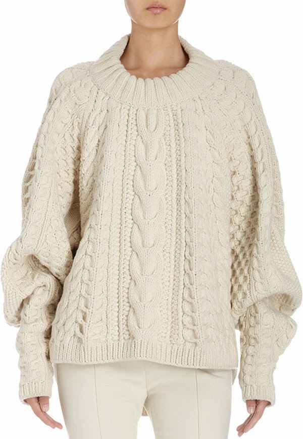 The Row chunky cream cableknit