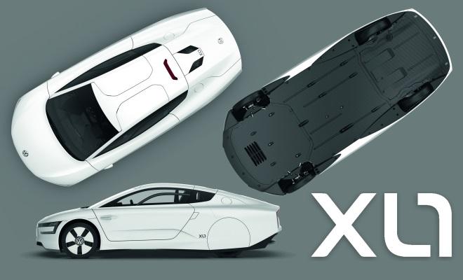 Volkswagen XL1 production car top, underside, profile and badge
