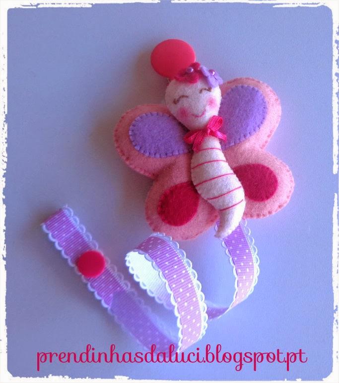 chupeteiro pendente de chupeta para a chupeta do bebe borboleta em feltro