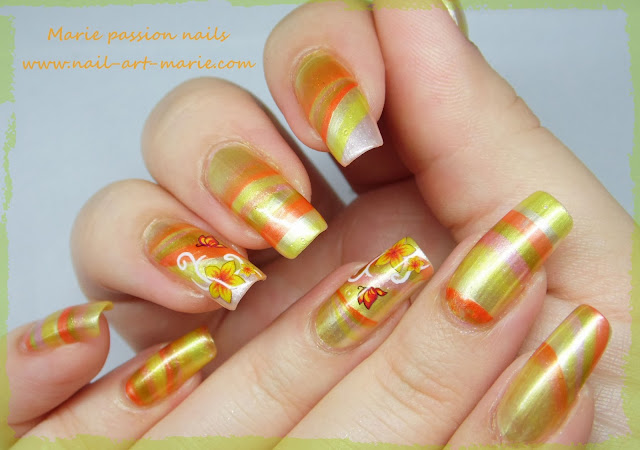 Nail Art Water marble d' Automne1