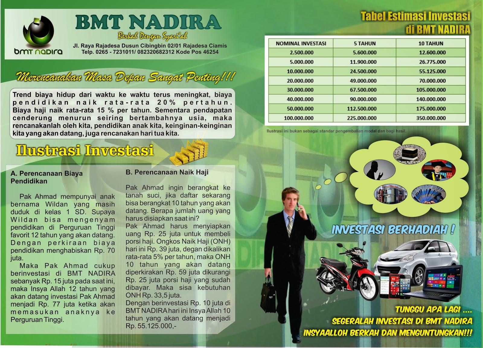 Pembuatan Brosur BMT Nadira Rajadesa