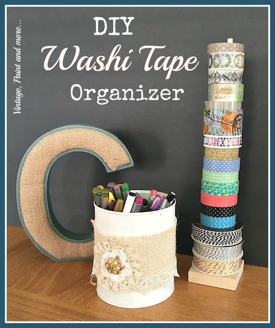 diy washi tape organizer from a wood medallion and a dowel rod