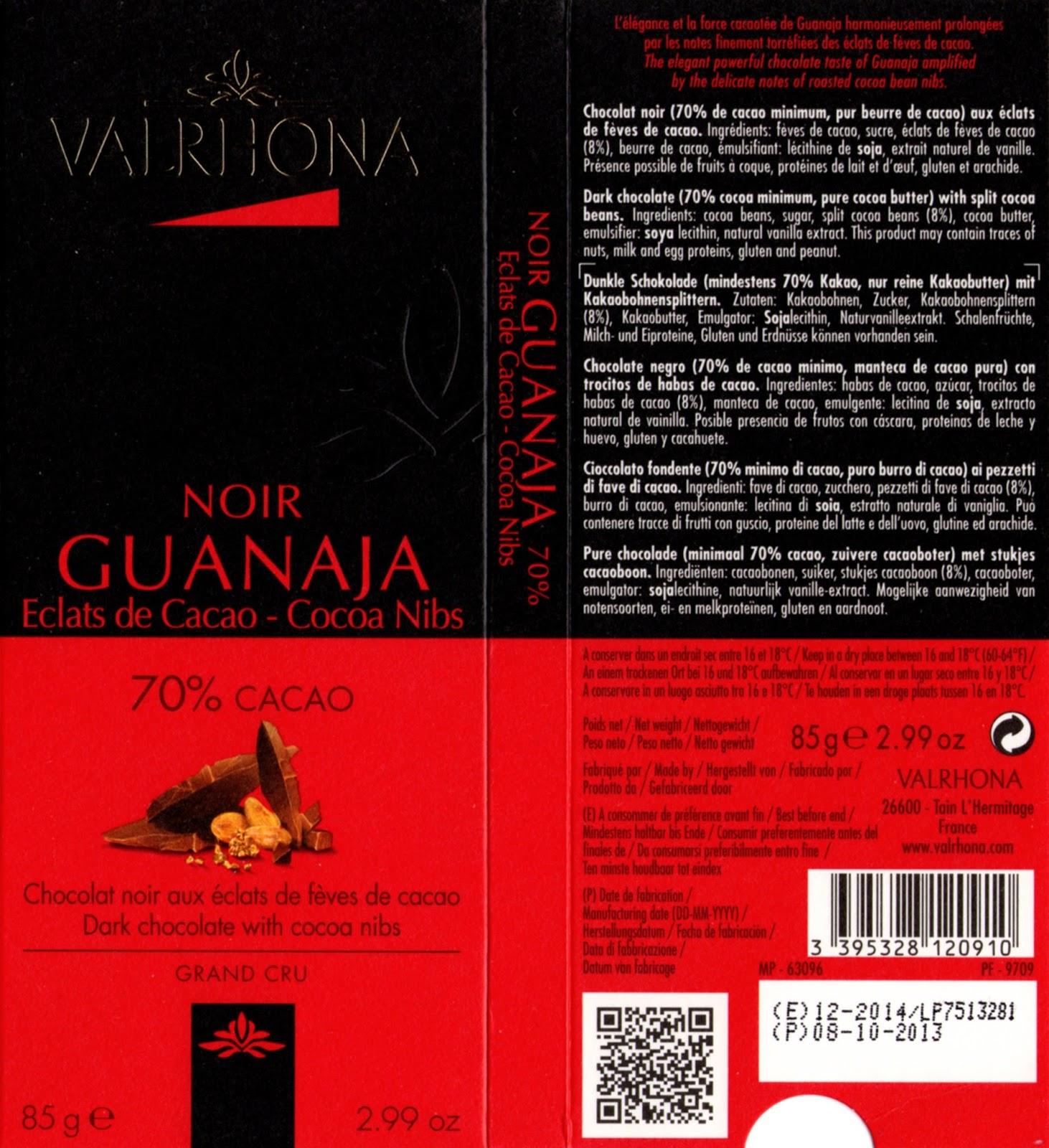 tablette de chocolat noir gourmand valrhona noir guanaja eclats de cacao 70