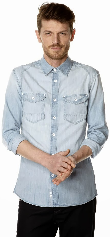 Celio Menswear Faded Denim Shirt Slim-Cut Spring Summer Collection 2014