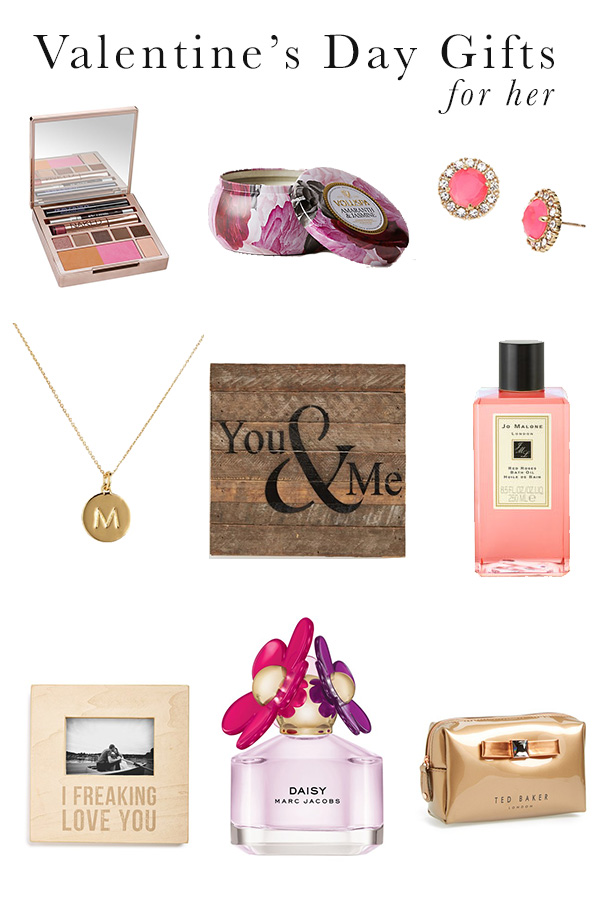 valentine's day gift ideas, gift ideas for women, perfume, initial necklace, bubble bath, candle, jewelry