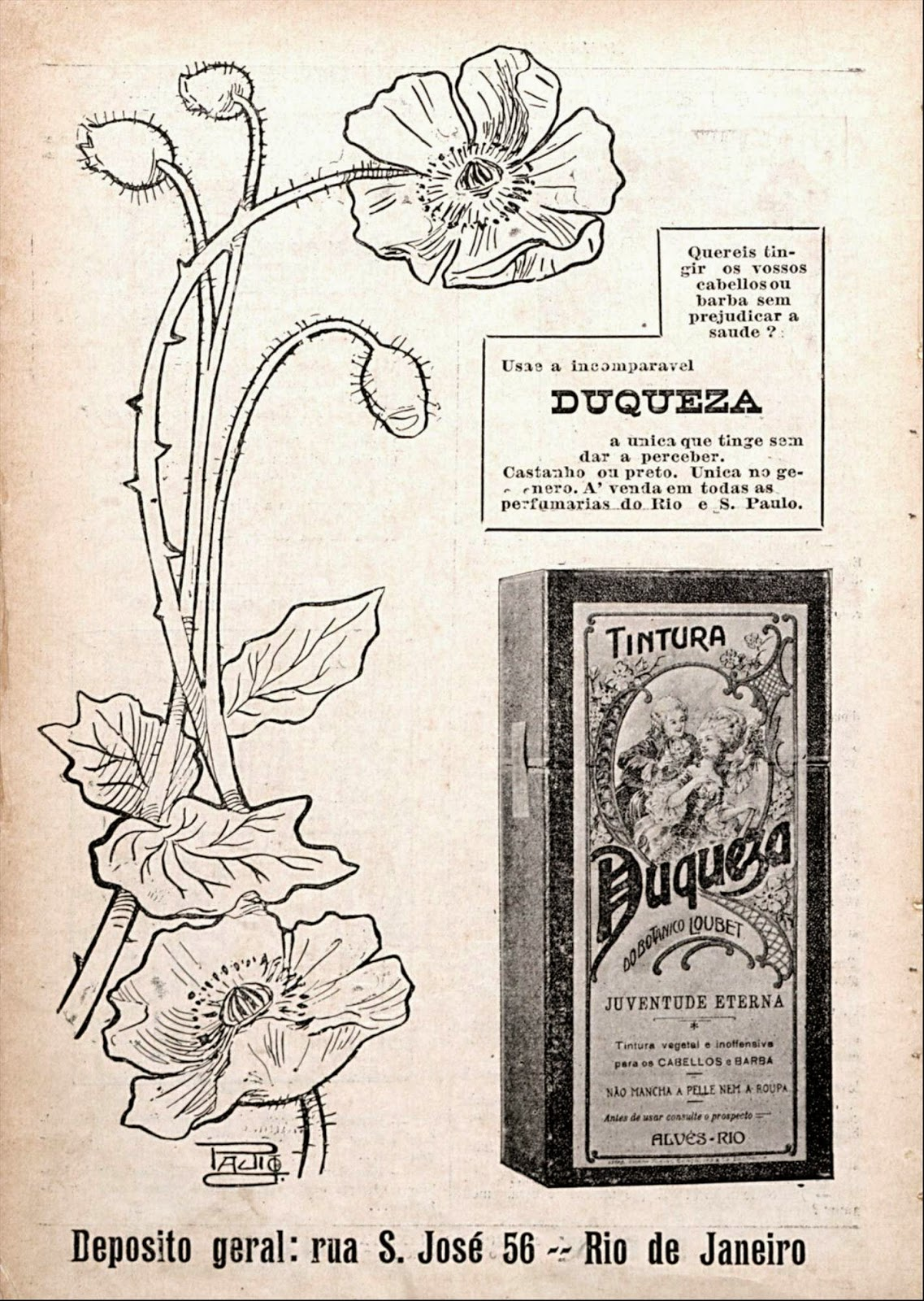 "Propaganda da Tintura Duqueza, veiculado em 1912, que prometia a ""juventude eterna"""