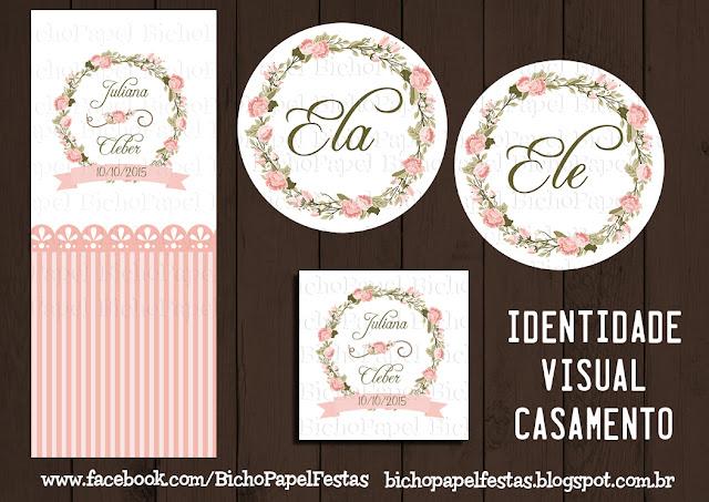 Kit Digital Casamento Rosa e Branco