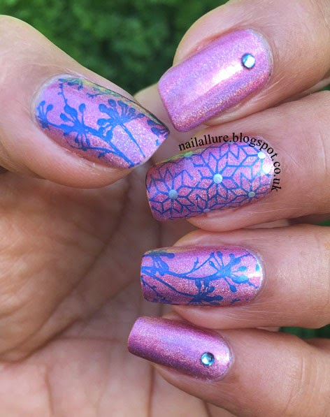 Blue Flowers on a Pink Holo Base