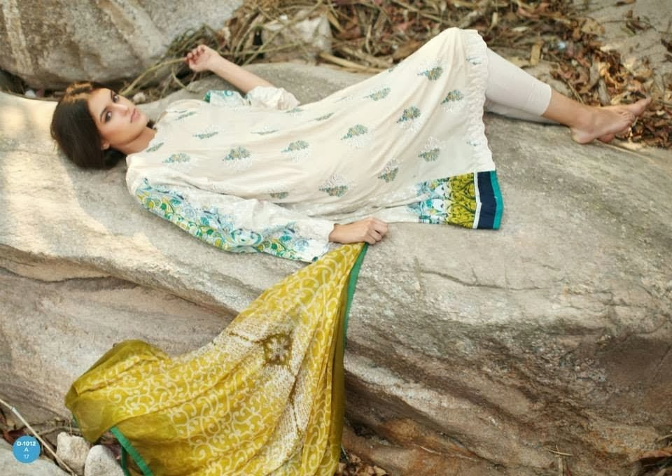 Simple White Printed Lawn Suits With Printed Back