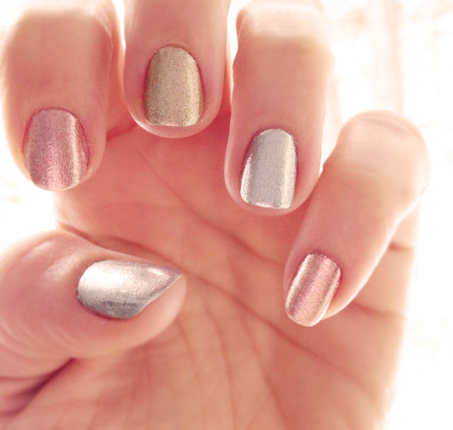 metallic nails, nails, manicure