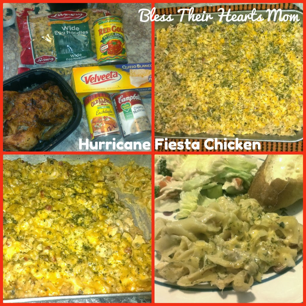 hurricane fiesta chicken recipe collage