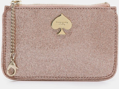rose gold glitterbug small flat pouch