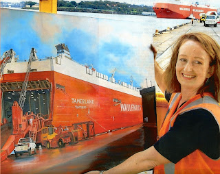 Industrial heritage artist Jane Bennett with her painting of the ro-ro 'Tamerlane' on East Darling Harbour Wharves (now Barangaroo)