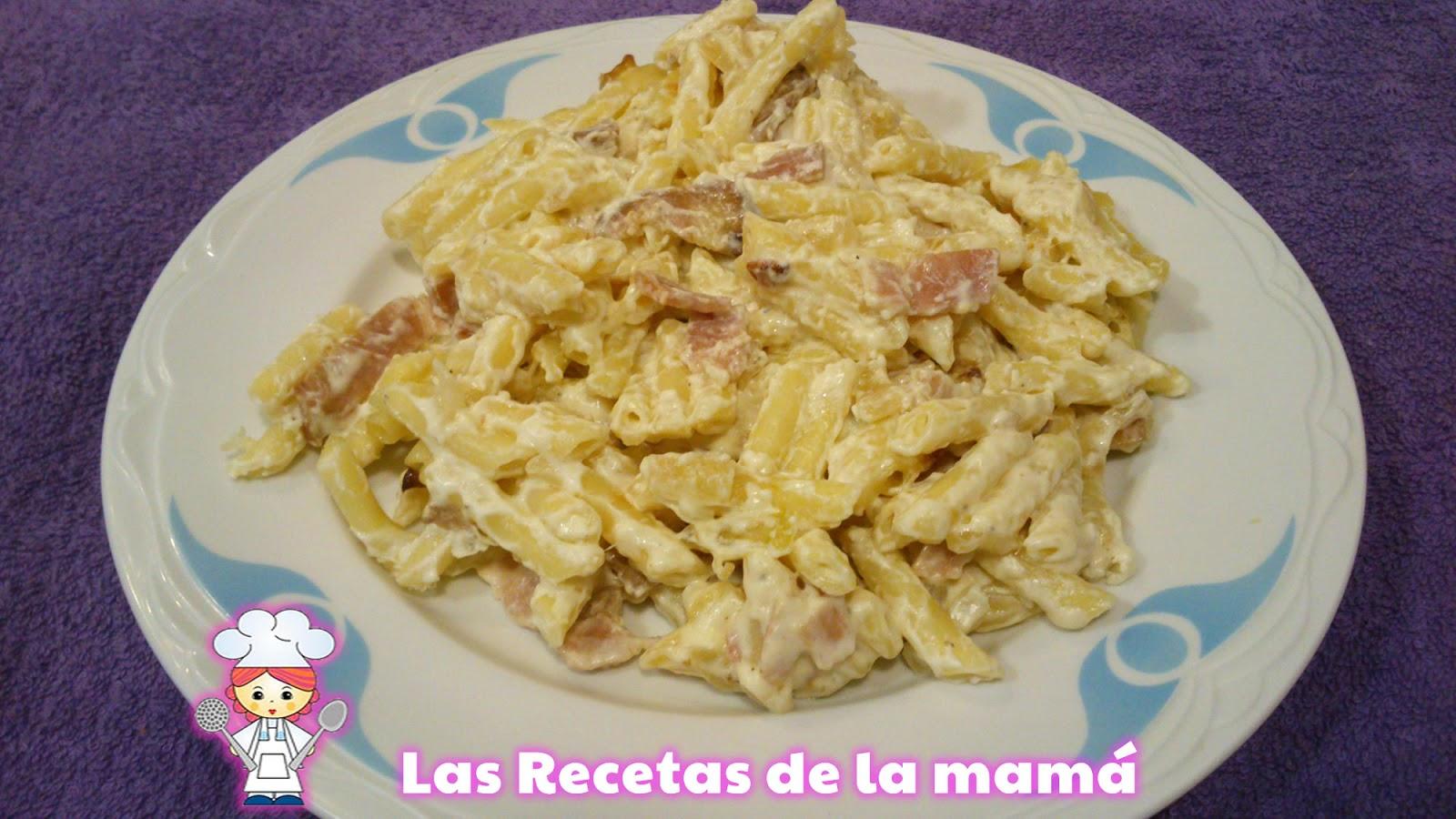 Las recetas de la mam receta de macarrones con beicon y nata - Salsas para pasta con nata ...